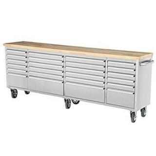 "NEW 96"" Stainless Steel 24 Drawer Tool Chest"