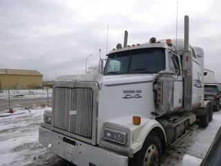 2005 Western Star T/A Truck Tractor, C/w Detroit Series 60 Engine, 14.0L, 15 Speed Transmission, End Dump Kit, Showing 736,433 KMS, 35,740 Engine Hours, Engine In Frame Rebuild in 2019, New Turbo Charger In 2019, CVIP 05/2020VIN 5KJJAECKX5PU11712
