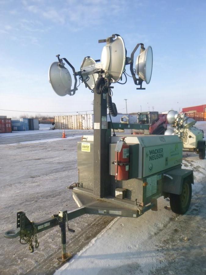 2014 Wacker Neuson LTW20 20Kw S/A Light Tower C/w (4) Lights, 4Cyl Diesel, Pintle Hitch, Vertical Mast, Hyd Extension Showing 1446Hrs. SN 5XFLW0517EN003335 *Note: Generator Requires Repair*