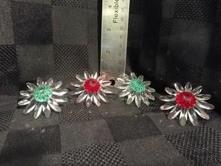 (4) Swarovski Crystal Red & Green Daisies.