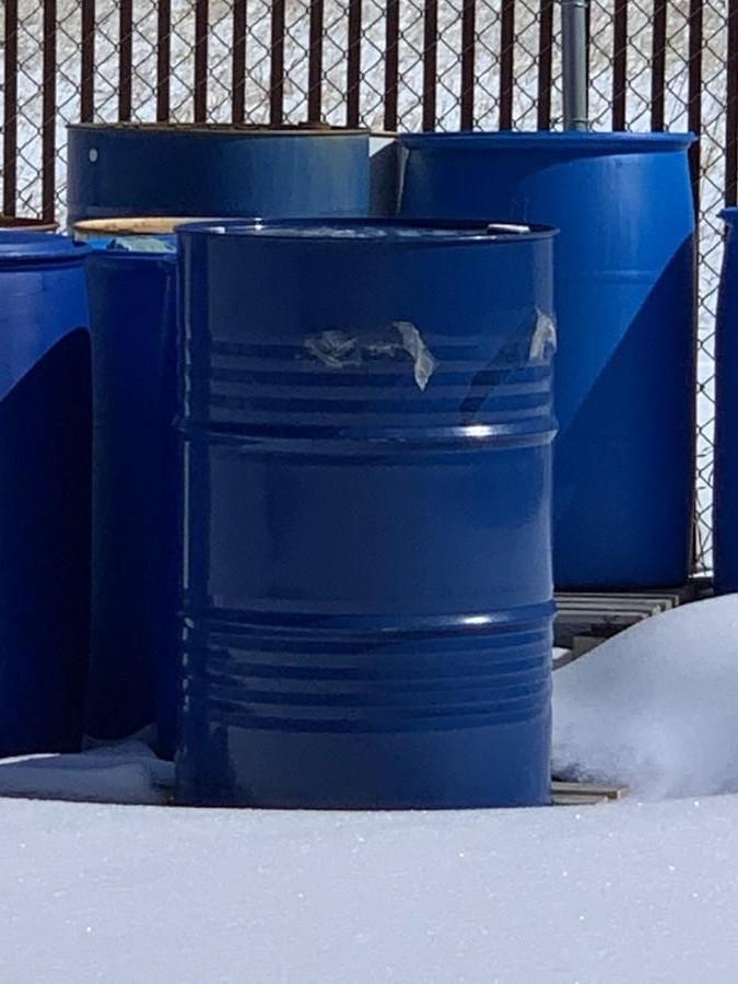 55 Gallon Blue Plastic Barrel.