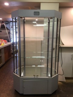 """Swarovski Silver Crystal Counterpoint Octagon Light Up Display Case. (H:72"""", W:42"""", D:26"""")"""