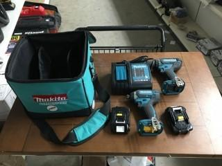 Makita 18V Lithium Ion Impact Driver and Drill Combo w/ Batteries & Charger.