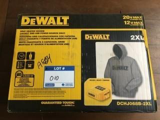 Grey DeWalt Heated Jacket 2XL w/USB Power Source only, Battery Included.