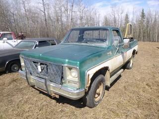 1979 Chevrolet Scottsdale 2500 4X4 Pickup C/w A/T, 5.7L Gas. VIN CKL2491170893