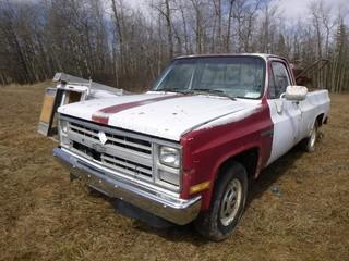 1986 Chevy Custom Deluxe Pick Up C/w V8 Gas, A/T. Showing 178,461kms. VIN 2GCFC24M4G1151108 *Note: Running Condition Unknown*