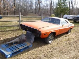 1970 Dodge Challenger C/w A/T. *Note: No Engine, Transmission And Front End, Seat Damage, Gas Cap Missing, Rear Bumper Missing, Tires Require Repair*