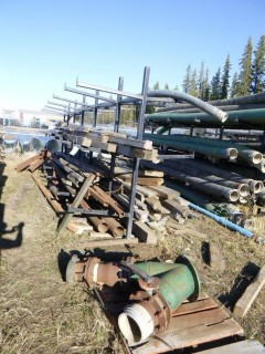 Approx 294in x 72in x 99in Pipe Rack C/w Assorted Size Pieces of Steel Pipe, Beams And Wood *Note: Buyer Responsible For Load Out*
