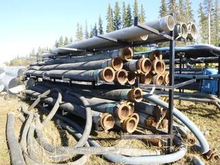 Approx 294in x 72in x 99in Pipe Rack C/w Assorted Size Hoses *Note: Buyer Responsible For Load Out*