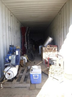 Contents Of Storage Container Includes: Custom Built 110V 125psi Air Compressor, (1) 26 Gal 135 Max PSI 3HP Air Compressor, Assorted Size Pipes & Fittings, Assortment Of Valves, Assorted Size Tires, (1) Model OP-4TH Pump w/ Honda GX340 Motor And Misc Supplies. *Note: Storage Container Not Included, Buyer Responsible For Load Out*