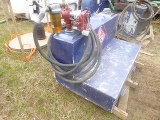 Approx 48in X 29in X 26in Slip Tank w/ Hose, Nozzle And 15GPM Fill-Rite 12V DC Pump