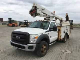 2011 Ford F550 SD 4x4 Deck Truck c/w 6.7 V8 Diesel, Auto, A/C, Dual Wheels, Manbasket, Picker. Note:  Odometer Not Working, Vehicle Requires Repair. S/N 1FDUF5HT0BEA47932.