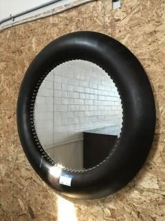 """Leather Round Mirror 42""""."""