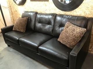 Big Leather Sofa w/Pillows.