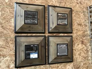 """(4) Wooden Square Wall Decorations 16"""" x 16""""."""