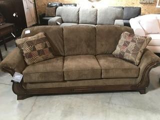 Large Wood  Sofa w/ Pillows.