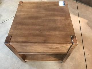 Wood Side Table w/ Front Drawer 24 x 24 x 24.