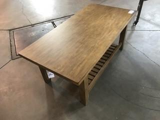Light Brown Wood Coffee Table 48 x 24 x 20.