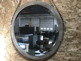 "Wood Chain Mirror 34""."