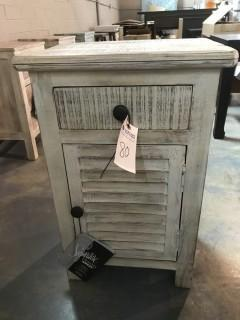 Charlowe Bedside Table Louver 18 x 13 x 28 (Cream).