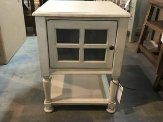 Cottage White w/ Glass Door Table 19 x 19 x 25.5.