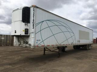2002 Great Dane 53' T/A Van Trailer c/w Air Ride Susp., Thermo King Reefer, 11R22.5 Tires. S/N 1GRAA06252W014816.