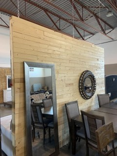 Hanging Wall 9' x 12' (approx) Painted Drywall on one side, Wood Slats on the other *Furniture and wall hanging not included*  **Buyer responsible for dismantling and load out - no ladder or forklift on site**