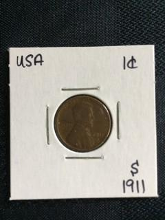 1911s US Wheat 1 Cent
