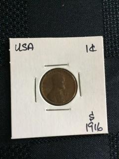 1916s US Wheat 1 Cent