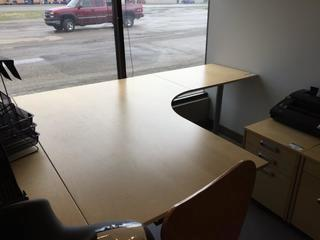 "L-Shaped Desk, 63"" x 79"" x 31-1/2"" H."