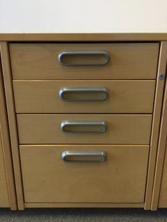 "4-Drawer Rolling File Cabinet, 17"" x 26"" x 23""."