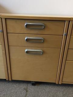 "3-Drawer Rolling File Cabinet, 17"" x 26"" x 23""."