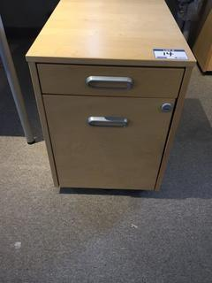 "2-Drawer Rolling File Cabinet, 17"" x 26"" x 23""."