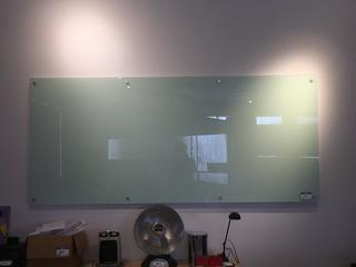 Wall Mounted Glass Board, 8' x 3-1/2'.