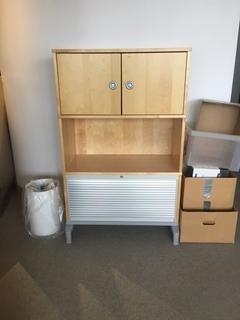 "Office Storage With Locking File Cabinet, 33""L x 17""D x 53""H."