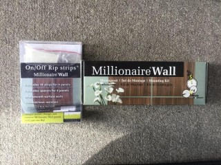 "Millionaire Wall ""Zebrano""  26-1/2"" Square Decorative Wall Panels, Rip Strips & Mounting Kit."