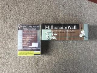 "Millionaire Wall ""Mahogany""  26-1/2"" Square Decorative Wall Panels, Rip Strips & Mounting Kit."