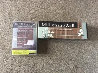 "Millionaire Wall ""White Wash""  26-1/2"" Square Decorative Wall Panels, Rip Strips & Mounting Kit."
