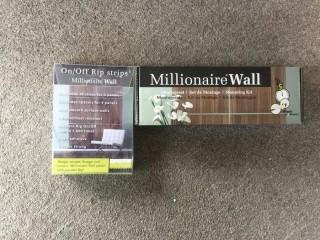"Millionaire Wall ""Olive""  26-1/2"" Square Decorative Wall Panels, Rip Strips & Mounting Kit."