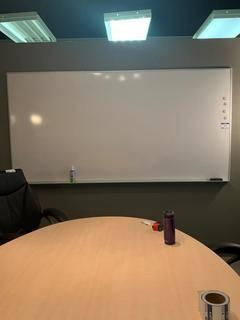 "Magnetic White Board, 96-1/2"" x 48-1/2""."