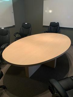 "Oval Conference Table, 95-1/2"" x 59-1/2""."