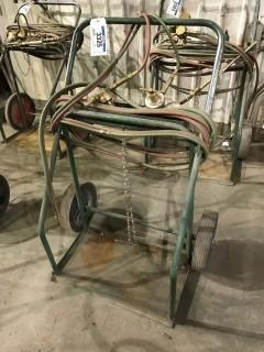Oxy/ Acetylene Cart w/ Hoses, Gauges, and Torch