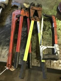 Lot of (2) Crimpers, Pipe Wrench and Hacksaw