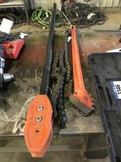 "Lot of Ridgid 3235 1.5"" Chain Tong and Ridgid C-35 Chain Tong"