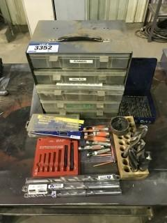Lot of Asst. Boring Bits, Reamers, Drill Bits, Bit Storage Bin etc.