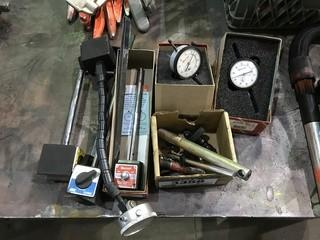 Lot of Dial Indicators and Magnetic Stands