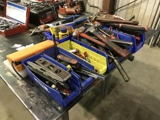 Lot of Asst. Hand Tools Including Bolt Cutters, Pipe Wrench, Hammers, Tape Measure, Screw Drivers, Tin Snips, Levels, etc.