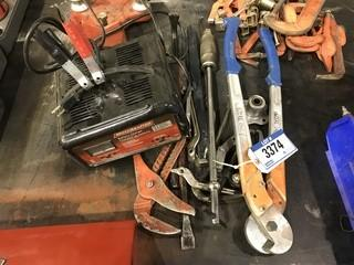 Lot of Asst. Tools including Motomaster Battery Charger, Bearing puller, Cable Cutters, Nail Pullers, etc.