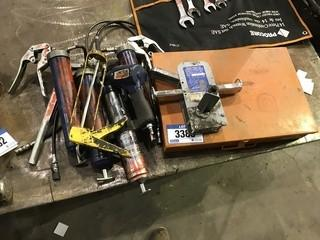 Lot of Pneumatic Grease Gun, Asst. Grease Guns, Parts Case