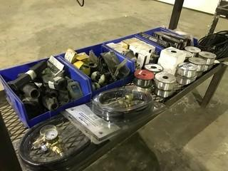 Lot of Argon Flow Meters, Aluminum Welding Electrodes, Electric Connectors, Stinger Clamps, etc.